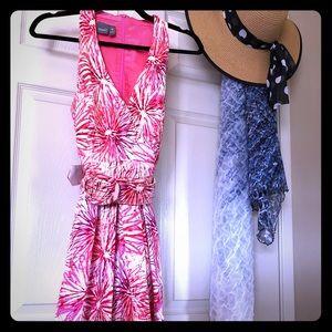 Pink Floral Belted Sleeveless Sun Dress